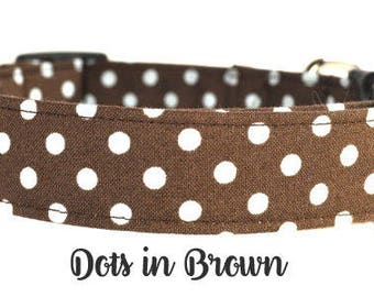Brown and White Polka Dot Dog Collar - The Dots in Brown