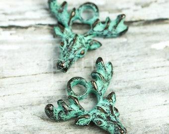 25%OFF Deer charm pendant, Green Patina metal Elk with Antlers, 20mm verdigris Greek Mykonos Casting Metal Native Tribal bead DIY