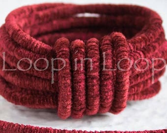 25%OFF Byzantine Red Velvet Round Lush Cord rope tube 3.5mm thick Velvet Choker Tubing Semisoft Fabric polyester core (sold by the foot)