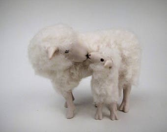 Doll House Scale Irish Galway Sheep With Lamb Under