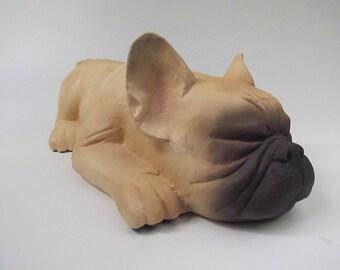 Frenchie Cremain Urn in Stoneware