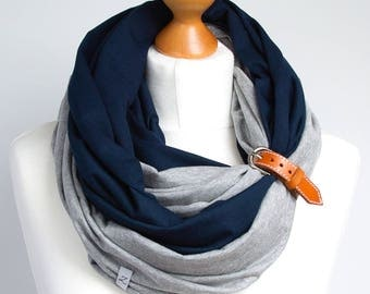 Infinity scarf with leather cuff, scarf, scarf with cuff, lightweight scarf, spring scarf with cuff, infinity scarves, cotton scarf