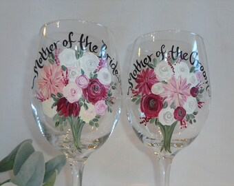 """EXACT REPLICA of Your Flowers, Mother of the Bride & Groom Wine Glasses, PERSONALIZED"""" Flower Bouquet Glasses, Mother of the Bride Gifts"""