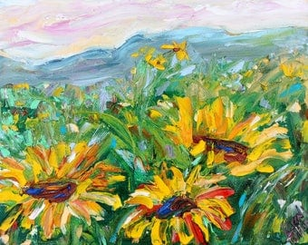 Sunflower Meadow painting original oil abstract impressionism fine art impasto on canvas by Karen Tarlton