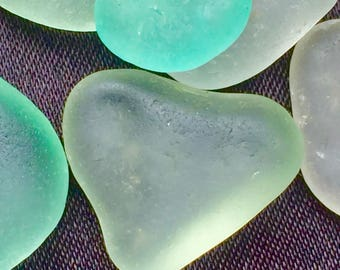 A-Sea Glass or Beach Glass of Hawaii Rounded SEAFOAM! HEART! 4 PENDANTS Genuine Sea Glass! Bulk Sea Glass! Seaglass! Sea Glass Bulk