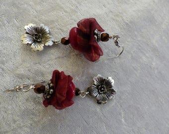 Burgundy earrings and flower charm