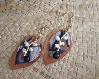 Earrings coco silk tapa, beads