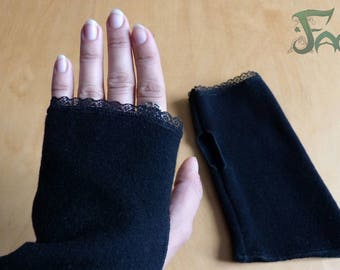 Black wool with lace gloves