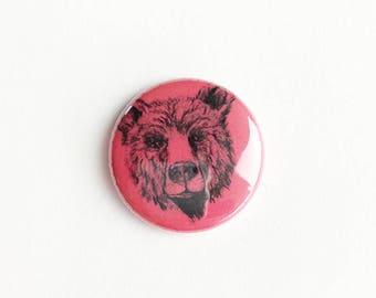 "bear face Button -  Pin - teddy bears - 1"" Pin Back Button - Collectible -  Button - teddy bear Button -  bears Button"