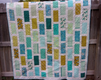 Mustang Sally Twin Size Quilt - Modern Rectangles
