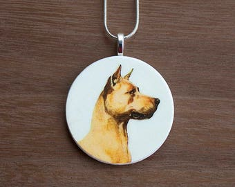 Great Dane Pendant Necklace, Great Dane Necklace, Great Dane Jewelry, Handcrafted Jewelry, Gift for Dog Lovers, Free Shipping in US