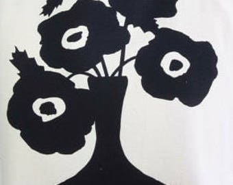 Black Poppie Tea Towel - READY TO SHIP