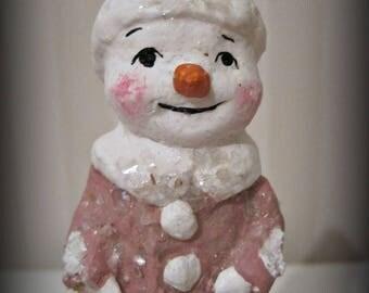 Pink Snowman paper mache  folk art OOAK art doll papier mache spool doll