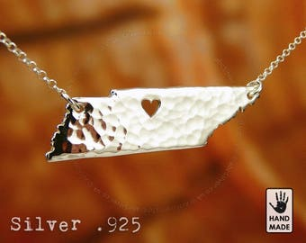 Tennessee Map Handmade Personalized Hammered Fine Silver .999 Necklace in a gift box