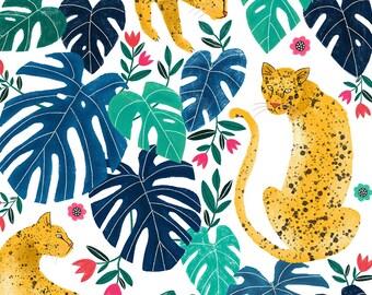 Leopard Jungle Art Print 8x10