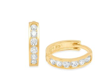 14K Yellow Gold Huggie Earrings With CZ Crystals 10mm