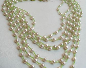 WILLIAM DeLILLO Vintage Necklace Creamy Pearls & Green Art Glass Beads
