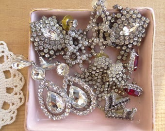 Vintage Wear Earring Lot, Pierced Lot, Vintage Jewelry Destash,  Silver Tone Rhinestone Dangle Drop Earrings D163