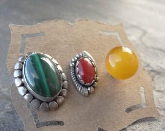 Single Sterling Stud Vintage- Mismatched Earrings - Single - Post Earrings - Malachite - Coral - Amber - Vintage - Earring Lot