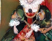 Custom order for Angie Silk painting in the Elizabethan era style.