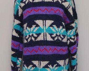 Vintage blue, purple, red, white handmade wool knit Ecudor long sweater/ Vint blue patter knit sweater