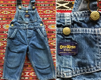 Vintage 60s Osh Kosh denim toddler overalls / 1960s kids overalls / soft and worn in / union made sanforized / size 2T 3T