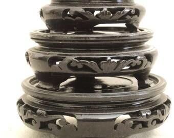 Vintage Asian Style Vase Stand, Collection, Set of 3, Presentation Base, Carved Wood, Pedestal, Riser, Display Stand, Wooden Base,Ginger Jar
