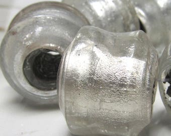 Lampwork Beads 22 X 18mm Large Hand Blown Smooth Silver Swirl Large Hole Freeform Short Tubes - 10 pieces