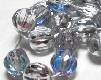 Czech Glass Beads 10mm Ice Blue Half Silver Glass Round Melons - 10 Pieces