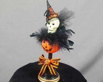 Halloween Skull Decoration, Vintage Halloween, Halloween Decoration, Jack O Lantern, Halloween Centerpiece, Halloween Mantel, Skull Decor