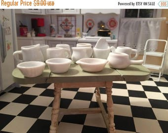 SALE Miniature Kitchen Set, Ceramic Pitchers, Bowls and More, 12 Piece Set, Dollhouse Miniatures, 1:12 Scale, Dollhouse Kitchen Decor Access