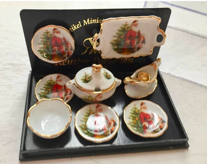 Featured listing image: SALE Miniature Christmas Santa Dinner Set by Reutter Porcelain, 8 Piece Set, Gold Trimmed Porcelain Dishes, Dollhouse Miniature, 1:12 Scale