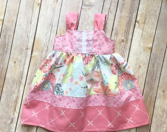 Boutique Girls floral knot dress, sizes 1-4, toddler and infant  dress, girls holiday dress, girls dress