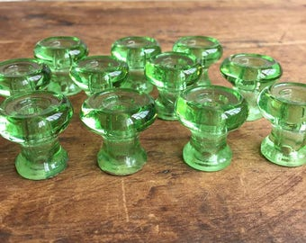 FREE SHIPPING Vintage Clear Green Glass Drawer Knobs (Set of 11) E2226