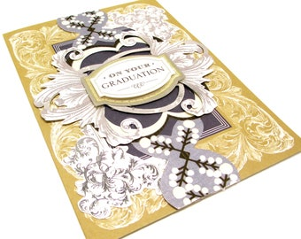 GRADUATION greeting card 5X7 Gold and Silver Foiled GRADUATE