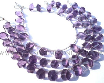 Gemstone Beads, Amethyst (Light) Faceted Twisted Drops (Quality AA+) / 6x9 to 7x11 mm / 18 cm / AME-103