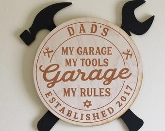 Dad's-Grandpa's-Personalized-GARAGE Sign-My Garage My Tools My Rules-Engraved Wood Sign-Black Hammer and Wrench