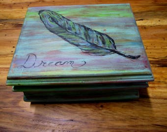 Recycled reused hand painted feather trinket box dream box bohemian distressed chic storage