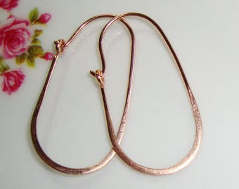 1 pair, 30x16mm, 20.5gauge, Handmade 18K Rose Gold over 925 Sterling Silver Half Hammered Long Oval Earrings Hoop Ear Wire, EW-0021