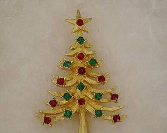 ON SALE Vintage Mylu Christmas Tree Ruby & Emerald Rhinestone Pin Brooch