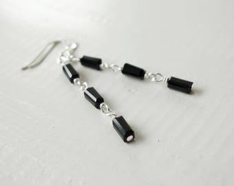 Black bead earrings long dangle earrings black minimalist earrings three beads earrings for women