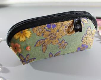 Zippered purse - Kanako golden green