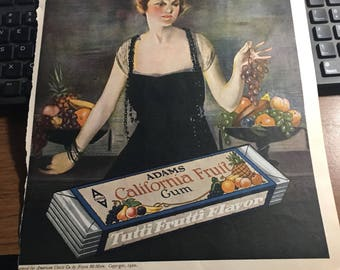 1920 Adams gum ad 10 x 13 original ad.