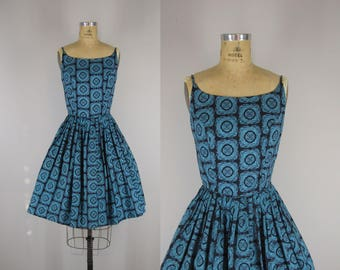 1960s Vintage Dress / 60s Cotton Sundress / Woodblock Print Sundress