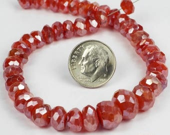 "ON SALE Mystic Carnelian Rondelles, Rondels, Faceted Carnelian, Graduated Beads - 4"" Strand  - 7 to 9.5mm"