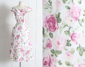 Vintage 1940s Dress | vintage 40s pink rose print cotton dress | deadstock with tags | Patti Greene | xl xxl