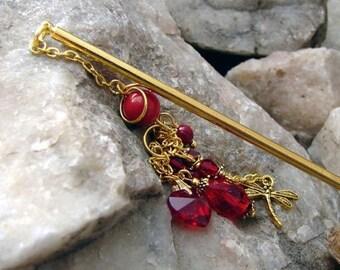 CIJ SALE Deep Red Hair Stick Japanese Geisha Hairstick Red Coral and Crystal Oriental Hair Pick Kanzashi Hair Pins Hair Chopsticks Hair Pic