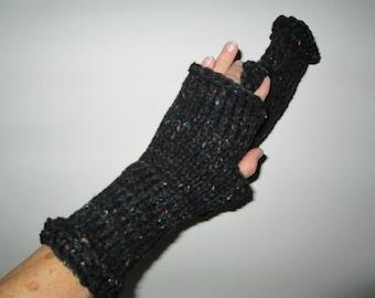 Black Chunky Fingerless Gloves Knitted by SuzannesStitches, Outlander Black Fingerless Gloves, Fingerless Gloves, Chunky Fingerless Gloves