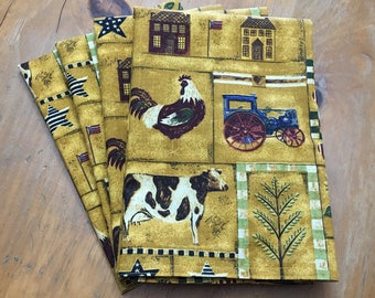 Country Farm, Gold, Red, Green Reusable Cloth Napkins Set of 4 Double Sided 100% Cotton Eco Friendly Large 20 x 20