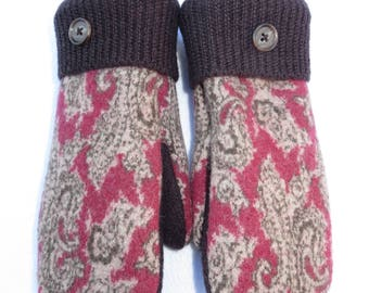 Wool Mittens from Recycled Wool Sweaters // Fleece Lined // Deep Pink with Dark Brown Paisley Design